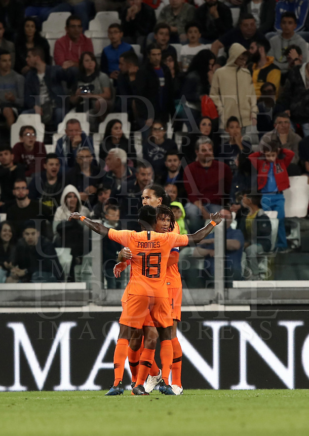 International friendly football match Italy vs The Netherlands, Allianz Stadium, Turin, Italy, June 4, 2018. <br /> Netherlands' Nathan Ak&eacute; (c) celebrates with his teammates after scoring during the international friendly football match between Italy and The Netherlands at the Allianz Stadium in Turin on June 4, 2018.<br /> UPDATE IMAGES PRESS/Isabella Bonotto