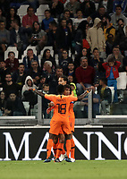 International friendly football match Italy vs The Netherlands, Allianz Stadium, Turin, Italy, June 4, 2018. <br /> Netherlands' Nathan Aké (c) celebrates with his teammates after scoring during the international friendly football match between Italy and The Netherlands at the Allianz Stadium in Turin on June 4, 2018.<br /> UPDATE IMAGES PRESS/Isabella Bonotto
