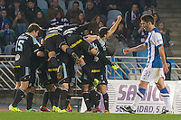 Celta de Vigo's players celebrate goal during La Liga match.November 23,2013. (ALTERPHOTOS/Mikel)