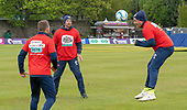 Issued by Cricket Scotland - Scotland V Afghanistan 1st One Day International - Grange CC - l to r - no cricket, but a little football for 'keeper Matthew Cross, National Head Coach Shane Burger and spinner Mark Watt -weather pic - picture by Donald MacLeod - 08.05.19 - 07702 319 738 - clanmacleod@btinternet.com - www.donald-macleod.com