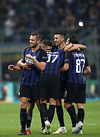 Football Soccer: UEFA Champions League FC Internazionale Milano vs Tottenham Hotspur FC, Giuseppe Meazza stadium, September 15, 2018.<br /> Inter's players celebrate after winning 2-1 the Uefa Champions League football match between Internazionale Milano and Tottenham Hotspur at Giuseppe Meazza (San Siro) stadium, September 18, 2018.<br /> UPDATE IMAGES PRESS/Isabella Bonotto