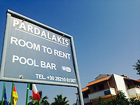 Pictured: Pardalakis Hotel in Gerani, near Chania, Crete, Greece, where missing 73 year old Robert Arthur Jones was staying before he disappeared. Tuesday 08 July 2014<br /> Re: Police from north Wales helping in the search for a missing Denbigh pensioner in Crete want to track down two Welsh tourists who visited the Greek island.<br /> Arthur Jones, 73, from Denbighshire, has not been seen since 19 June, two days after he arrived in Crete.<br /> The officers found Mr Jones's name in a visitors' book from the day before he disappeared, written just before two Welsh tourists signed it.<br /> They hope Mr Jones might have spoken to them of his plans for a walking tour.