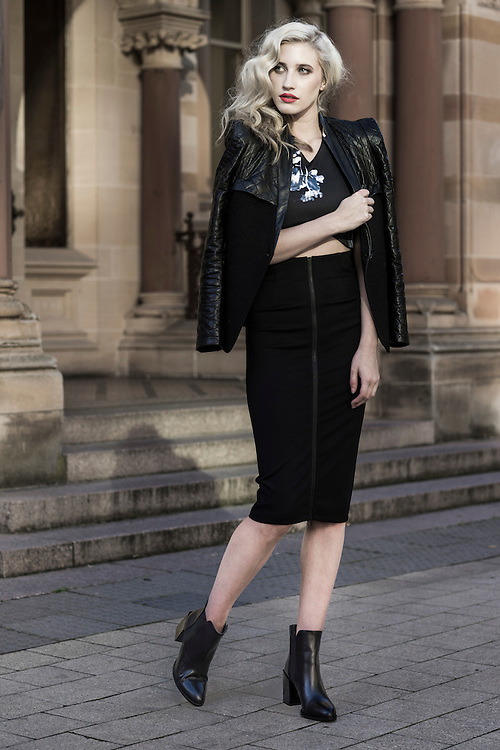 Sunday, Fashion with Mirella. Ankle boots. Megan Ryan of Pride Models on North Tce Adelaide. Photo: Nick Clayton