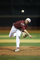 Elon Phoenix starting pitcher Kyle Brnovich (5) in action against the Wake Forest Demon Deacons at David F. Couch Ballpark on February 24, 2019 in  Winston-Salem, North Carolina. (Brian Westerholt/Four Seam Images)