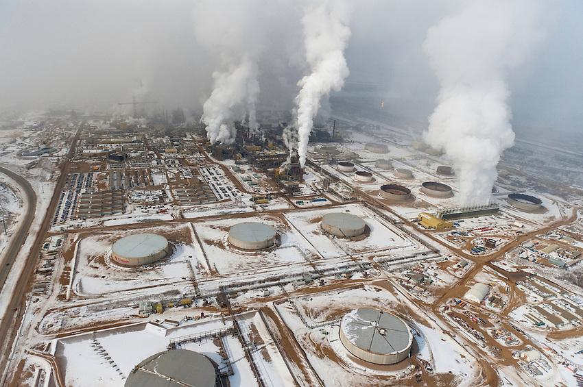 Tar Sands, March 2010.  Syncrude Alberta Oil Sands, Tar sands, syncrude upgrader. Alberta Athabasca Tar Sands or Oil Sands.