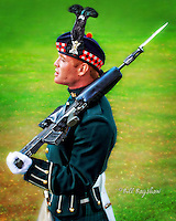 The Royal guard attended the 2013 Ballater Highland Games. The Queens Royal Guard is a ceremonial guard but it also includes soldiers armed with machine guns. dsider.co.uk online magazine www.dsider.co.uk, copyright Bill Bagshaw photography Ballater.