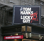 Theatre Marquee unveiling for the Nora Ephron play LUCKY GUY starring Tom Hanks in his Broadway debut. This marks Nora's return to her journalistic roots in a new play about the scandal- and graffiti-ridden New York of the 1980s, as told through the story of the charismatic and controversial tabloid columnist Mike McAlary. The Broadhurst Theatre in New York City on 12/28/2012