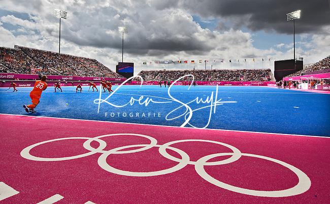 LONDEN - Het Riverbank Hockeystadion, vrijdag tijdens de Olympische hockeywedstrijd tussen de mannen van  Nederland en Nieuw -Zeeland.  ANP KOEN SUYK