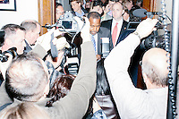 Republican presidential candidate Dr. Ben Carson arrives at the Secretary of State's office to officially file his presidential candidacy in the New Hampshire State House in Concord, New Hampshire.
