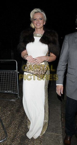 Michelle Mone<br /> The Serpentine Gallery Summer Party, Serpentine Gallery, Kensington Gardens, Hyde Park, London, England.<br /> June 26th, 2013<br /> full length white dress brown fur wrap shawl shrug gold panels sequined sequins clutch bag leopard print <br /> CAP/CAN<br /> &copy;Can Nguyen/Capital Pictures