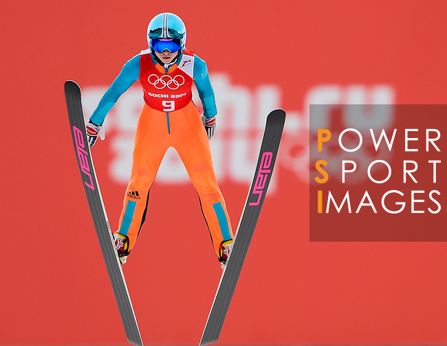 Atsuko Tanaka of Japan jumps during the Women's Normal Hill Individual training session of the 2014 Sochi Olympic Winter Games at Russki Gorki Ski Juming Center on February 9, 2014 in Sochi, Russia. Photo by Victor Fraile / Power Sport Images