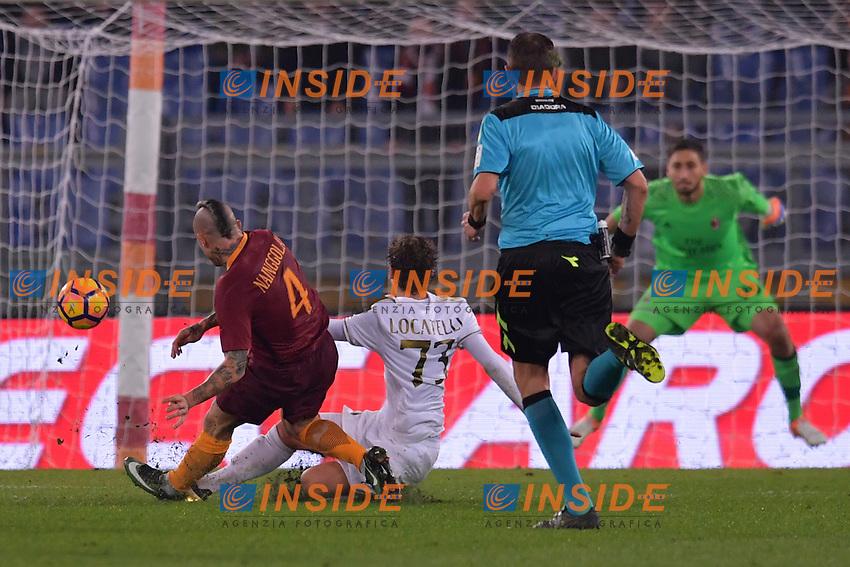 Gol di Radja Nainggolan Roma. Goal celebration.<br /> Roma 12-12-2016  Stadio Olimpico<br /> Campionato Serie A, Derby<br /> AS Roma - Milan <br /> Foto Antonietta Baldassarre / Insidefoto