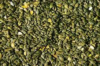 Austria Styria, cultivation of pumpkin, the seeds are used for processing of pumpkin seed oil / Oesterreich Steiermark, Anbau von Kuerbis und Verarbeitung zu Kuerbiskernoel, Ernte mit Traktor und Erntemaschine bei Landwirt Herbert Semler, geerntete Kuerbiskerne