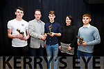 The 'Young Player of the Year' award went to Óisín Moran, pictured here l-r; Nominee Cian Goggin(St Michaels/Foilmore), Vincent Devlin(Sponsor), Óisín Moran(St Marys), Kathleen Devlin(Sponsor) & Nominee Kevin Sheehan(Piarsaigh na Dromoda).