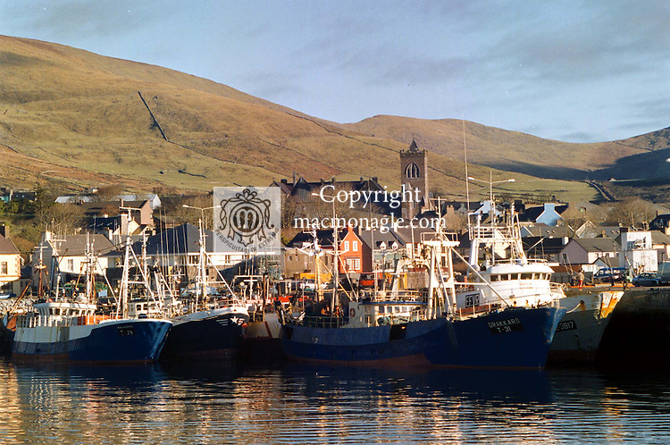 Fishing boats lined up  at Dingle Pier where work on extending began this week.<br /> Picture by Don MacMonagle 064-32833