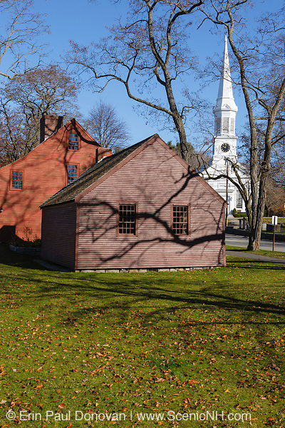 The Old Schoolhouse and Jefferds' Tavern during the autumn months with the First Parish Congregational Church in the back ground ....located in York, Maine USA which is part of scenic New England