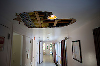 A hole appeared in the ceiling of one of the residences after a recent storm at the Fernald Developmental Center in Waltham, Massachusetts, USA.  The ceiling is expected to be repaired soon.