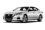 Stock pictures of low aggressive front three quarter view of 2019 Nissan Altima SR-FWD 4 Door Sedan Low Aggressive