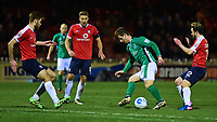 Lincoln City's Adam Marriott looks to find a way through the York City defence<br /> <br /> Photographer Andrew Vaughan/CameraSport<br /> <br /> The Buildbase FA Trophy Semi-Final First Leg - York City v Lincoln City - Tuesday 14th March 2017 - Bootham Crescent - York<br />  <br /> World Copyright &copy; 2017 CameraSport. All rights reserved. 43 Linden Ave. Countesthorpe. Leicester. England. LE8 5PG - Tel: +44 (0) 116 277 4147 - admin@camerasport.com - www.camerasport.com