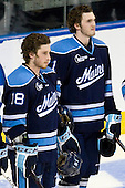 Jon Swavely (Maine - 18), Kyle Beattie (Maine - 21) - The University of Minnesota Duluth Bulldogs defeated the University of Maine Black Bears 5-2 in their NCAA Northeast semifinal on Saturday, March 24, 2012, at the DCU Center in Worcester, Massachusetts.