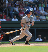 Infielder Jordan Ribera (33) of the Asheville Tourists in a game against the Greenville Drive on Sunday, August 26, 2012, at Fluor Field at the West End in Greenville, South Carolina. Greenville won, 5-4. (Tom Priddy/Four Seam Images)