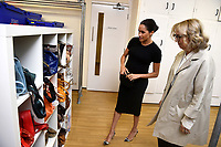 10 January 2019 - London, England - Lady Juliet Hughes Hallett, chair of Smart Works and Meghan Markle Duchess of Sussex visits Smart Works Charity in London. Photo Credit: ALPR/AdMedia