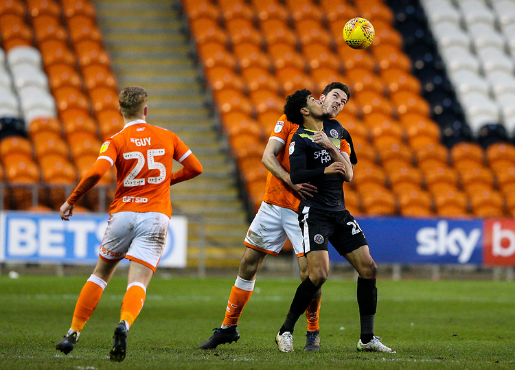 Blackpool's Ben Heneghan vies for possession with Shrewsbury Town's Josh Laurent<br /> <br /> Photographer Alex Dodd/CameraSport<br /> <br /> The EFL Sky Bet League One - Blackpool v Shrewsbury Town - Saturday 19 January 2019 - Bloomfield Road - Blackpool<br /> <br /> World Copyright © 2019 CameraSport. All rights reserved. 43 Linden Ave. Countesthorpe. Leicester. England. LE8 5PG - Tel: +44 (0) 116 277 4147 - admin@camerasport.com - www.camerasport.com