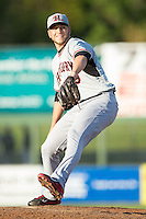 Hickory Crawdads relief pitcher Josh McElwee (19) in action against the Kannapolis Intimidators at CMC-Northeast Stadium on May 18, 2014 in Kannapolis, North Carolina.  The Intimidators defeated the Crawdads 6-5 in 10 innings.  (Brian Westerholt/Four Seam Images)