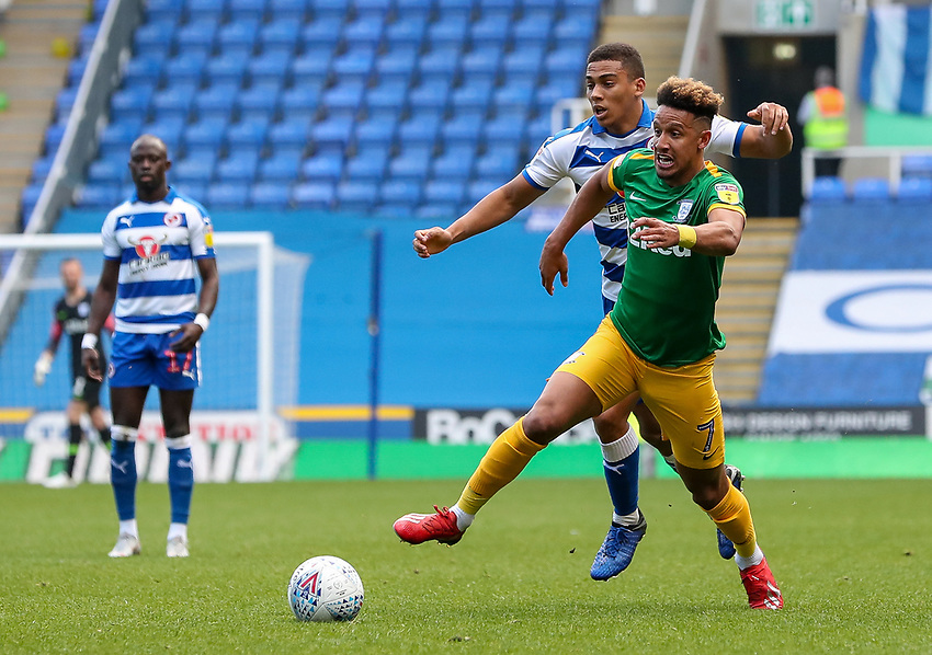 Preston North End's Callum Robinson competing with Reading's Andy Rinomhota <br /> <br /> Photographer Andrew Kearns/CameraSport<br /> <br /> The EFL Sky Bet Championship - Reading v Preston North End - Saturday 30th March 2019 - Madejski Stadium - Reading<br /> <br /> World Copyright © 2019 CameraSport. All rights reserved. 43 Linden Ave. Countesthorpe. Leicester. England. LE8 5PG - Tel: +44 (0) 116 277 4147 - admin@camerasport.com - www.camerasport.com