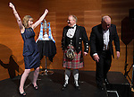 St Johnstone FC Scottish Cup Celebration Dinner at Perth Concert Hall...01.02.15<br /> Linda Findlay from The Cherrybank Inn celebrates after winning the game of Heads and Tails and pocketing &pound;500<br /> Picture by Graeme Hart.<br /> Copyright Perthshire Picture Agency<br /> Tel: 01738 623350  Mobile: 07990 594431