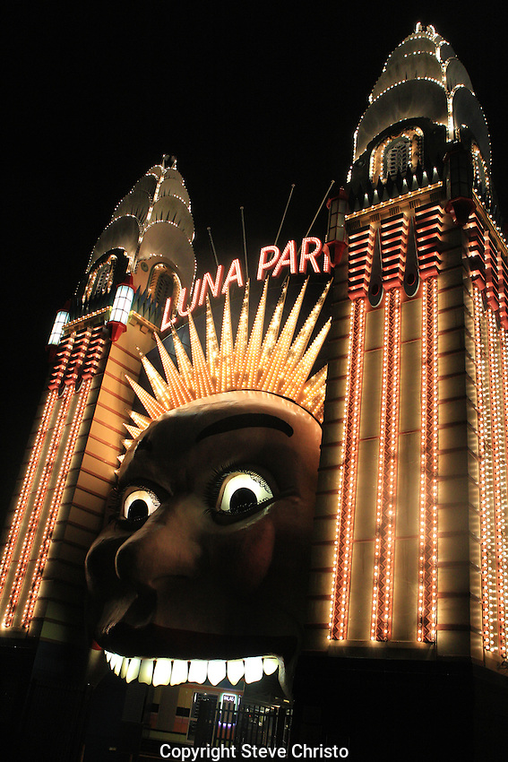The illuminated face of Luna Park on Sydney Harbour at night. Sydney, Australia. Wednesday 6th June 2012. (Photo Steve Christo)