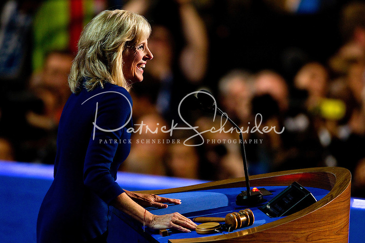 Dr. Jill Biden, wife of Vice President Joe Biden, address the audience during the 2012 Democratic National Convention at the Time Warner Arena.