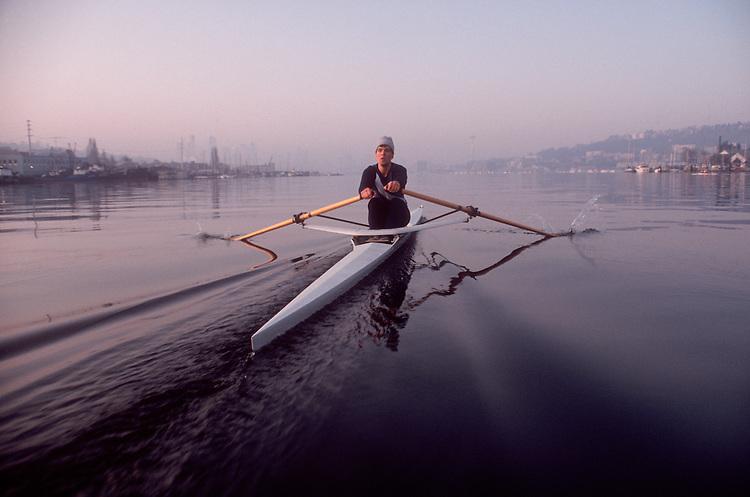 Rowing, Seattle, Male rower in single racing shell, Lake Union, Washington State, Pacific Northwest, Lake Washington Rowing Club, Chris Martin,