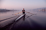 Rowing, Seattle, Male rower in single racing shell, Lake Union, Washington State, Pacific Northwest, Lake Washington Rowing Club, Chris Martin,