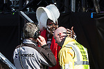 © Joel Goodman - 07973 332324 . 07/06/2015 . Manchester , UK . GRACE JONES thanks the security guard who has carried her on his shoulders during her performance on the main stage at The Parklife 2015 music festival in Heaton Park , Manchester . Photo credit : Joel Goodman