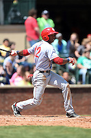 Hagerstown Suns outfielder Rafael Bautista (12) at bat during a game against the Lexington Legends on May 19, 2014 at Whitaker Bank Ballpark in Lexington, Kentucky.  Lexington defeated Hagerstown 10-8.  (Mike Janes/Four Seam Images)