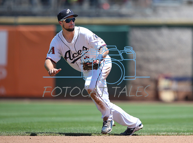 Reno Aces' Sean Jamieson makes a play against the Salt Lake Bees at Greater Nevada Field in Reno, Nev., on Tuesday, June 7, 2016. <br />