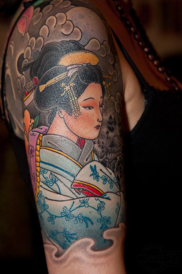 Copenhagen Inkfestival 2012. Japanese geisha portrait tattoo.