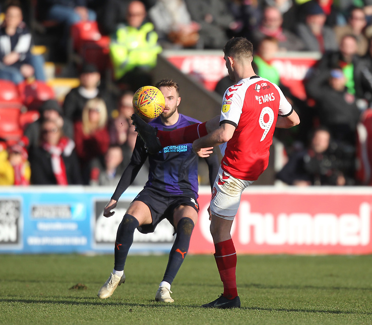 Fleetwood Town's Ched Evans<br /> <br /> Photographer Mick Walker/CameraSport<br /> <br /> The EFL Sky Bet League One - Fleetwood Town v Luton Town - Saturday 16th February 2019 - Highbury Stadium - Fleetwood<br /> <br /> World Copyright © 2019 CameraSport. All rights reserved. 43 Linden Ave. Countesthorpe. Leicester. England. LE8 5PG - Tel: +44 (0) 116 277 4147 - admin@camerasport.com - www.camerasport.com
