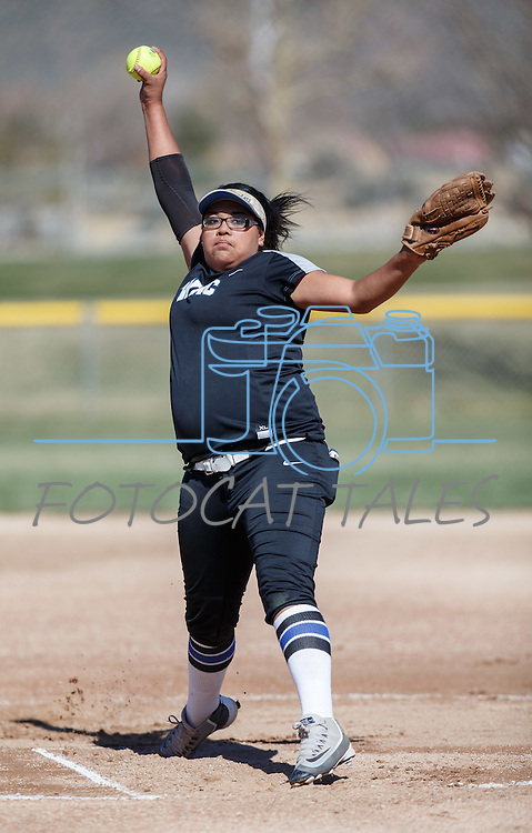 Western Nevada's Kaitlyn Jimmy pitches against Colorado Nortwestern at Edmonds Sports Complex Carson City, Nev., on Friday, March 18, 2016.<br /> Photo by Jeff Mulvihill, Jr./Nevada Photo Source