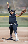 Western Nevada's Kaitlyn Jimmy pitches against Colorado Nortwestern at Edmonds Sports Complex Carson City, Nev., on Friday, March 18, 2016.<br />