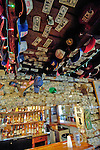 Visitors sign dollar bills and put them on the walls and ceiling at The Forks Roadhouse. - Petersville Road 20 miles from Trapper Creek.    Bob Gathany photo.