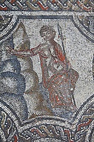 Seated figure holding a spear from the Roman mosaic of the Four Seasons, in the dining room of the House of Dionysos, 3rd century AD, Volubilis, Northern Morocco. Volubilis was founded in the 3rd century BC by the Phoenicians and was a Roman settlement from the 1st century AD. Volubilis was a thriving Roman olive growing town until 280 AD and was settled until the 11th century. The buildings were largely destroyed by an earthquake in the 18th century and have since been excavated and partly restored. Volubilis was listed as a UNESCO World Heritage Site in 1997. Picture by Manuel Cohen