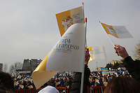 Papa Francesco a Scampia Popular neighborood of Scampia<br /> Napoli 21-03-2015 <br /> Visita Pastorale di Sua Santita' Papa Francesco all'Arcidiocesi di Napoli.<br /> Pastoral visit of his Holiness Pope Francis to the Archdiocese of Naples.<br /> Foto Cesare Purini / Insidefoto