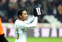 Saturday 19 January 2013<br /> Pictured: Jonathan de Guzman thanks home supporters at the end of the game.<br /> Re: Barclay's Premier League, Swansea City FC v Stoke City at the Liberty Stadium, south Wales.