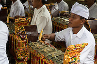 Jatiluwih, Bali, Indonesia.  Young Man Playing a Metallophone in a Gamelan Orchestra,  Luhur Bhujangga Waisnawa Hindu Temple.