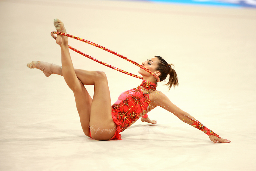 August 23, 2008; Beijing, China; Rhythmic gymnast Almudena Cid of Cid performs with hoop on way to placing 8th in the All-Around final at 2008 Beijing Olympics. Almudena's 4th Olympics!