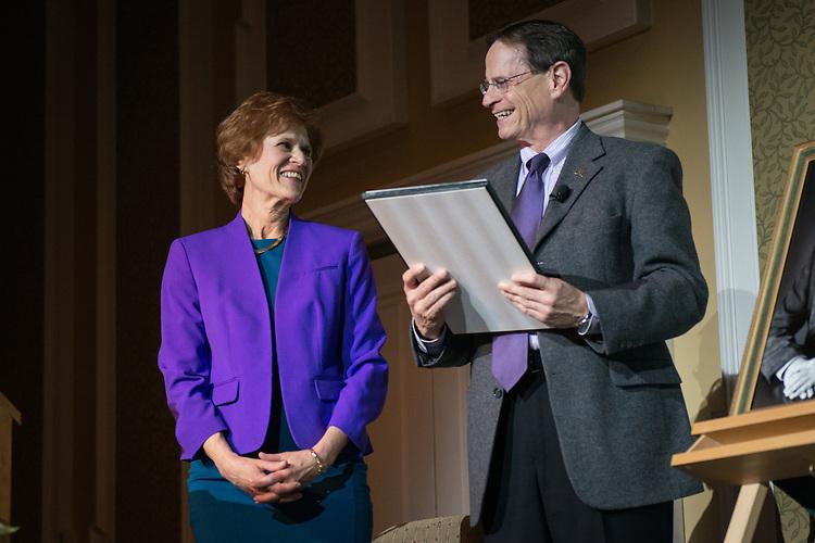 Dr. Judith Yaross Lee receives the 2017 Distinguished Professor Award presented by Ohio University Interim President David Descutner, at Ohio University's Baker Center Ballroom on Monday, February 20, 2017.