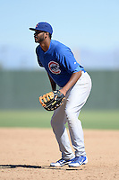 Chicago Cubs first baseman Kelvin Freeman (18) during an Instructional League game against the Oakland Athletics on October 16, 2013 at Papago Park Baseball Complex in Phoenix, Arizona.  (Mike Janes/Four Seam Images)