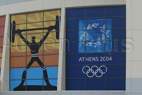 16.08.2004: Athens, Greece. Weightlifting and Olympics Signage at the Olympic Games, Athens, Greece.